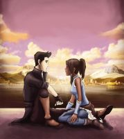 Mako and Korra, sunset in Republic City. by ex0tique
