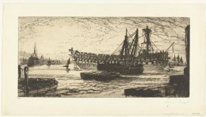The HMS Agamemnon in the harbour of Deptford 1870 by roodbaard1958