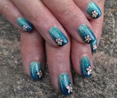 20140705 Teal Gradient with Plumerias by m-everhamnails