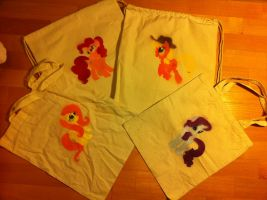 MLP Custom Tote and Drawstring Canvas Bags WIP by anonymousnekodos