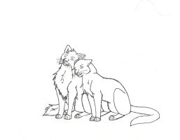 Cat couple Lineart by xXMeganMavelousXx