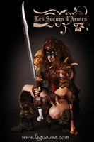 female Barbarian leather armor woman by Lagueuse