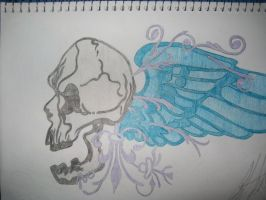 Skull and Angel Wings by SarahHardy01