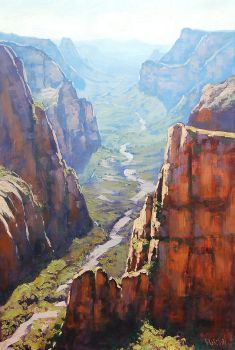 Zion Gorge Painting by artsaus