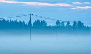 Telephone Lines In The Mist by JoniNiemela