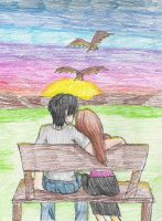 Couple with sunset by Darkfire75