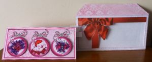 Pink Red Three Baubles card with Matching Envelope by blackrose1959