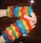 Crocodile Stitch Rainbow Gloves by OneLoneTree