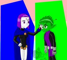 Raven X Beastboy 3 by Artistic-Winds