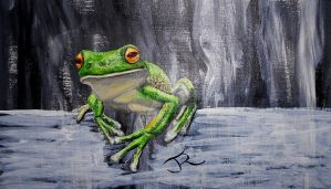 Frog on a log by Abuttonpress2Nothing