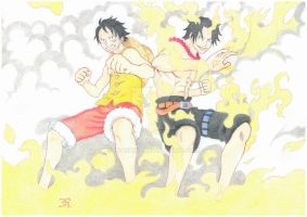 Luffy and Ace by inarion7
