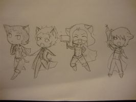 kitty dmc and thor uncolored by the-muffin-lord