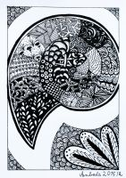 Zentangle shell by Anbeads
