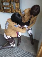 Let me fix your straps for you, Eren by cosplay-violin