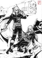 Space Pirate Captain Harlock/Queen Emeraldas Comm by anireal