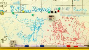 doodles on whiteboard pony by HowXu