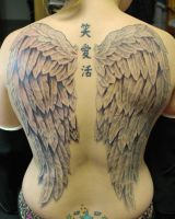 Full Back Wings Tattoo by joshing88