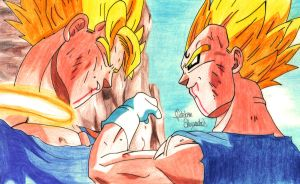 Goku VS Majin Vegeta by E2A4