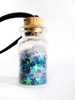 Blue Star Pixie Dust Bottle Necklace by AngieRikku