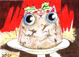 Funny cat is an xmas pudding by KingZoidLord