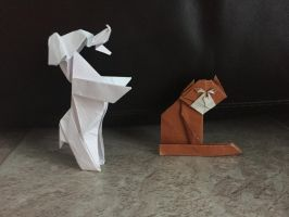 Origami dog and cat by Brickgenius27