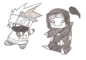 Chibi Kakashi and Itachi by DiruKyoChibi