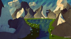 Low Poly Mountain Scape. by pyxArtz