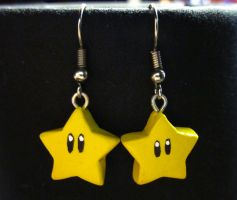 Mario Star Earrings by SapphireIceAngel
