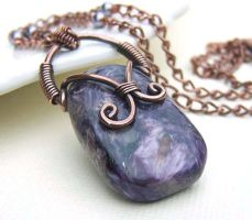 Wire wrapped copper purple chariote necklace by CreativityJewellery