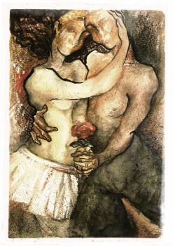 The couple, the dance, and the rose by Rosana-Araujo