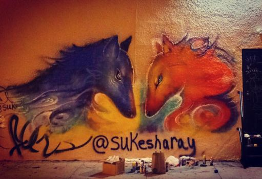 Wall Mural: Fire and Ice Wolves by Sukesha-Ray