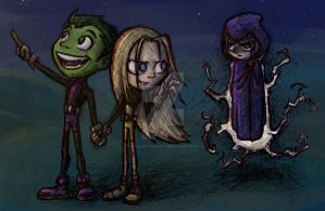 Terra, Beast Boy and Raven by CharlotteMosey