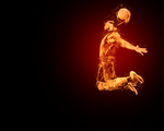 Flaming LeBron James Desktop Background by acevesgame