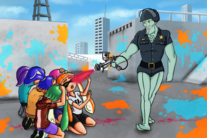 Casually Paint Spray Handsome Squidward Cop by nicolarre