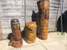 Three of my Anglo Saxon/Norse art inspired carvin by cass1968