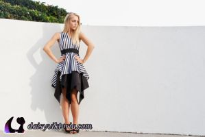 Black and White Striped Dress by DaisyViktoria