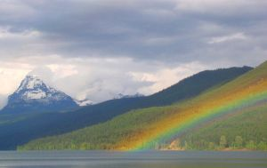 Rainbow at Lake McDonald by Geotripper