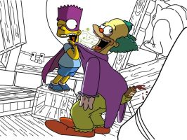 Bartman and Krusty the Clown WIP 3 by SheSingsInTheMorning