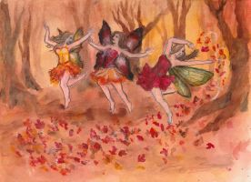 Dancing Fall Fairies by jenniemarie22