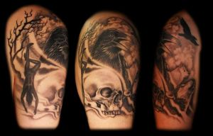 Skull and raven tattoo (Odin) by dzsedi