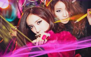 Lovey Dovey with Hyomin and Jiyeon 1280 x 800 by milkystepsx3