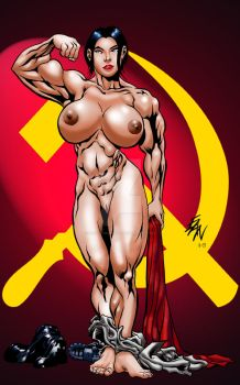 Soviet SuperWoman Nude Comish by ericalannelson