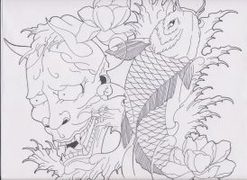 Hannya and Koi Tattoo Design by bloodempire