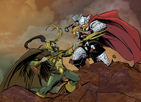Thor VS Loki by greenestreet