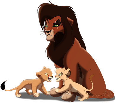 Kovu and his sons by Catgirl08