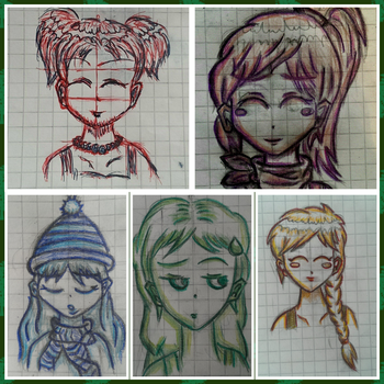 Anime Faces by FireDrawer1309