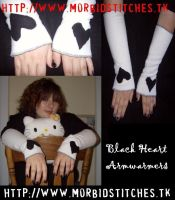 Black Heart Armwarmers by morbid-stitches