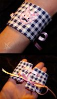 Checkered bunny cuff by MissAnnThropia