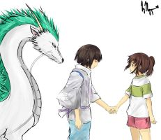 Haku and Chihiro! The Parts I Drew by Vietii