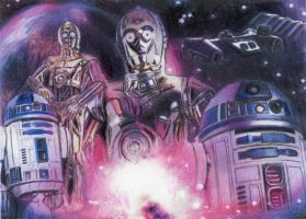 Star Wars Droids Collage Sketch Card by TRENTBRUCE